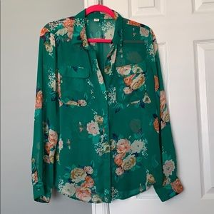 Gorgeous green and flora button-up!